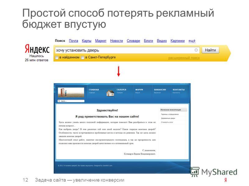 Простой способ потерять рекламный бюджет впустую 12Задача сайта увеличение конверсии