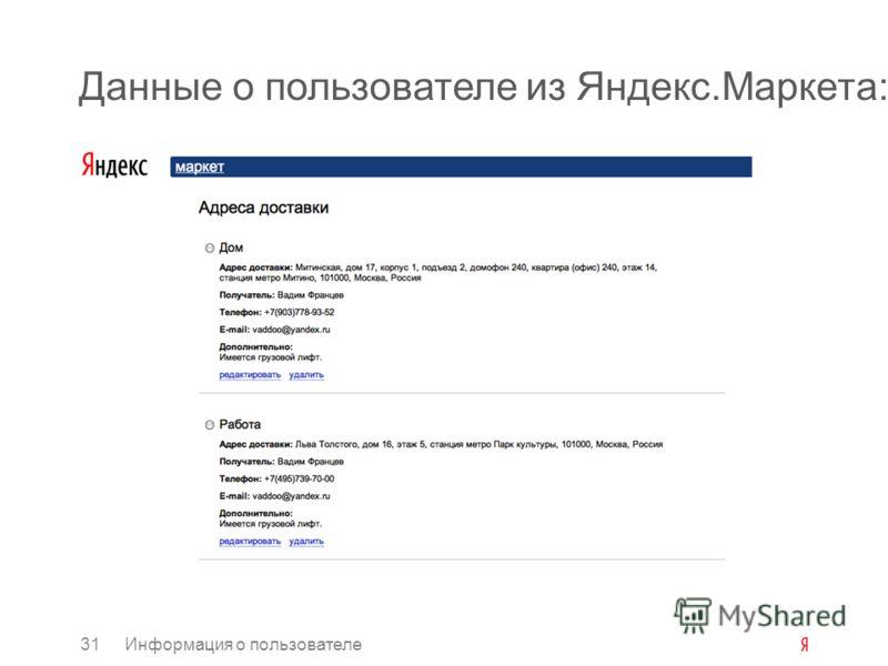 Данные о пользователе из Яндекс.Маркета: 31Информация о пользователе