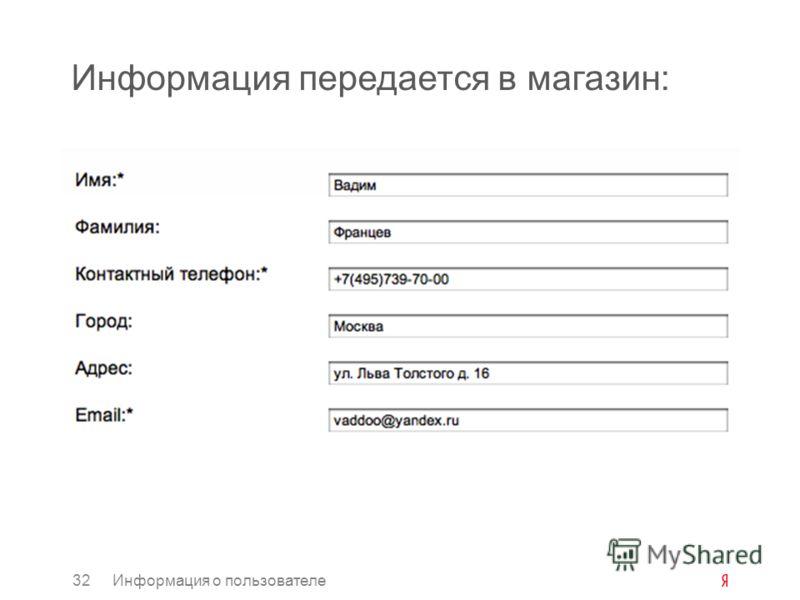 Информация передается в магазин: 32Информация о пользователе