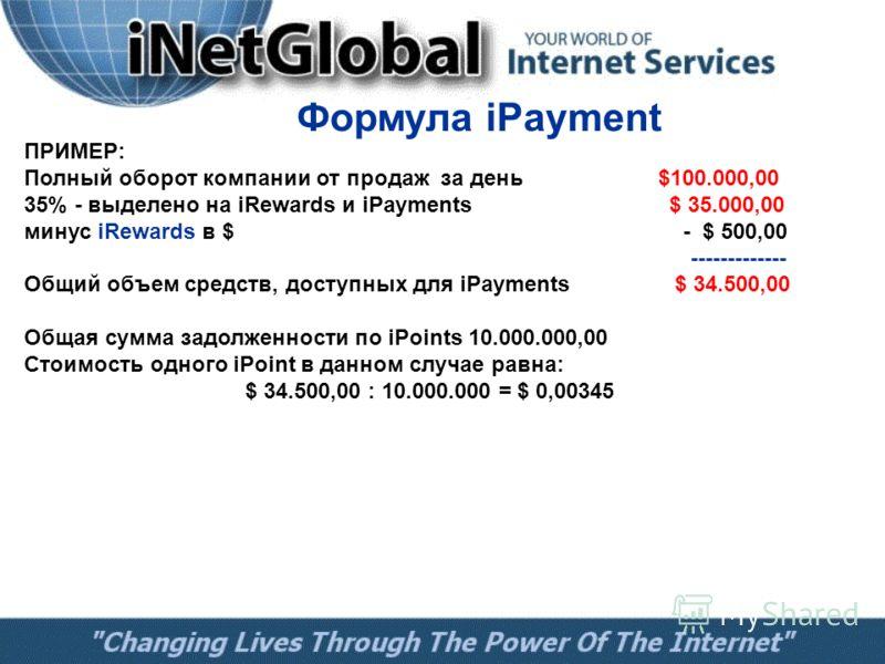 Формула iPayment ПРИМЕР: Полный оборот компании от продаж за день $100.000,00 35% - выделено на iRewards и iPayments $ 35.000,00 минус iRewards в $ - $ 500,00 ------------- Общий объем средств, доступных для iPayments $ 34.500,00 Общая сумма задолжен