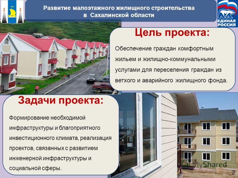Цель проекта: Обеспечение граждан комфортным жильем и жилищно-коммунальными услугами для переселения граждан из ветхого и аварийного жилищного фонда. Задачи проекта: Формирование необходимой инфраструктуры и благоприятного инвестиционного климата, ре