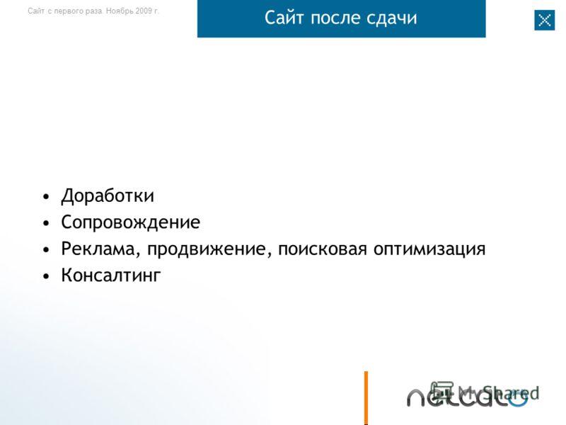 Сайт с первого раза. Ноябрь 2009 г. Сайт после сдачи Доработки Сопровождение Реклама, продвижение, поисковая оптимизация Консалтинг