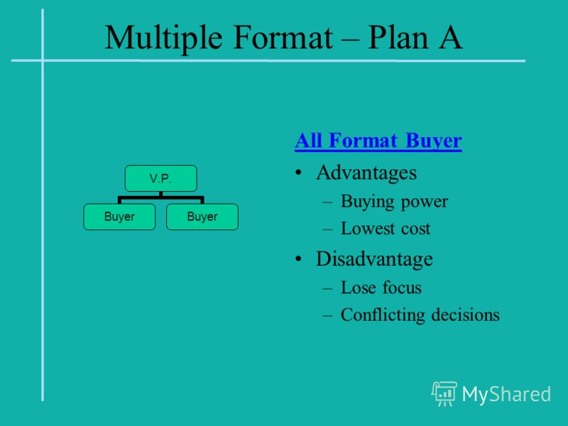 Multiple Format – Plan A All Format Buyer Advantages –Buying power –Lowest cost Disadvantage –Lose focus –Conflicting decisions V.P. Buyer