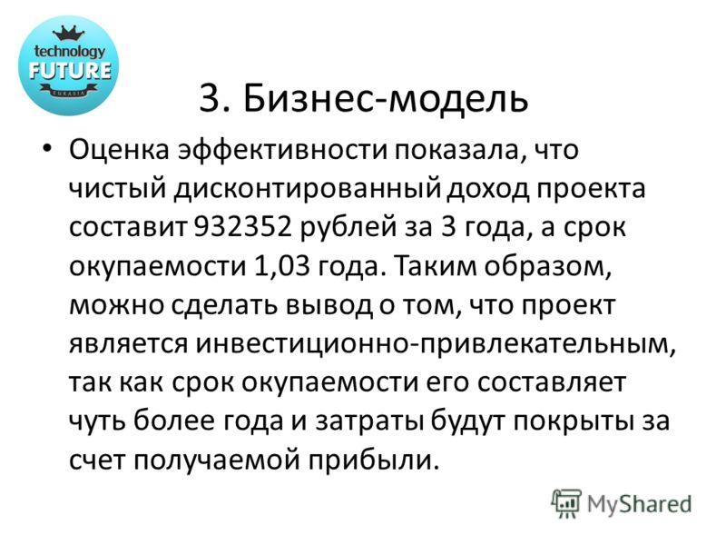 3. Бизнес-модель Оценка эффективности показала, что чистый дисконтированный доход проекта составит 932352 рублей за 3 года, а срок окупаемости 1,03 года. Таким образом, можно сделать вывод о том, что проект является инвестиционно-привлекательным, так