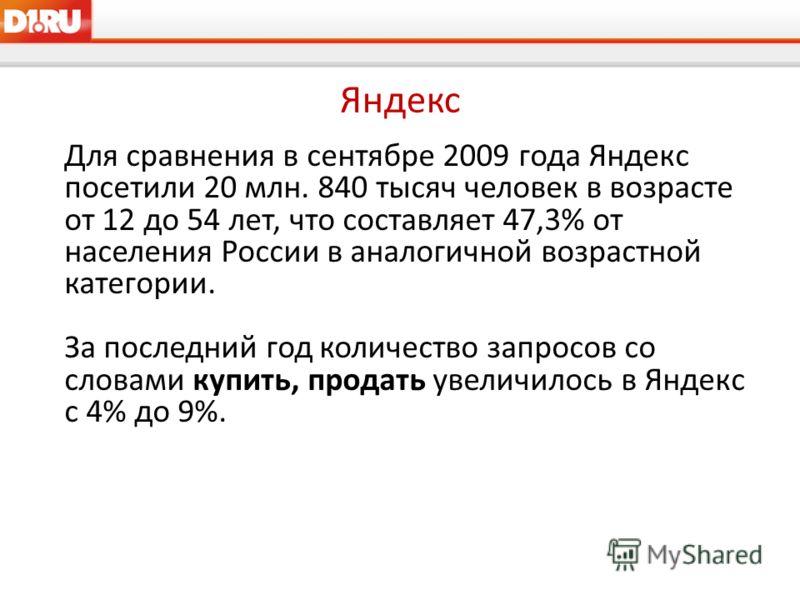 Яндекс Для сравнения в сентябре 2009 года Яндекс посетили 20 млн. 840 тысяч человек в возрасте от 12 до 54 лет, что составляет 47,3% от населения России в аналогичной возрастной категории. За последний год количество запросов со словами купить, прода