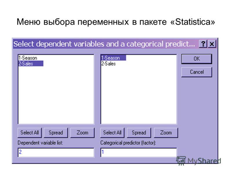 Меню выбора переменных в пакете «Statistica»
