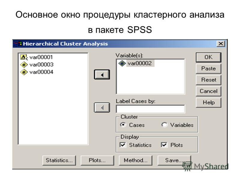 Основное окно процедуры кластерного анализа в пакете SPSS
