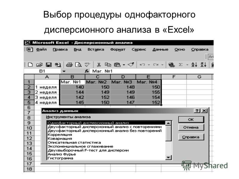 Выбор процедуры однофакторного дисперсионного анализа в «Excel»