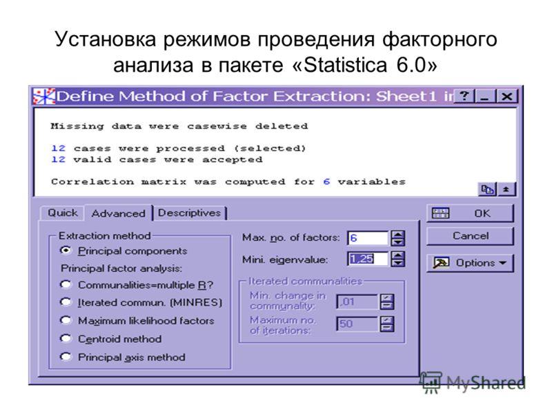 Установка режимов проведения факторного анализа в пакете «Statistica 6.0»