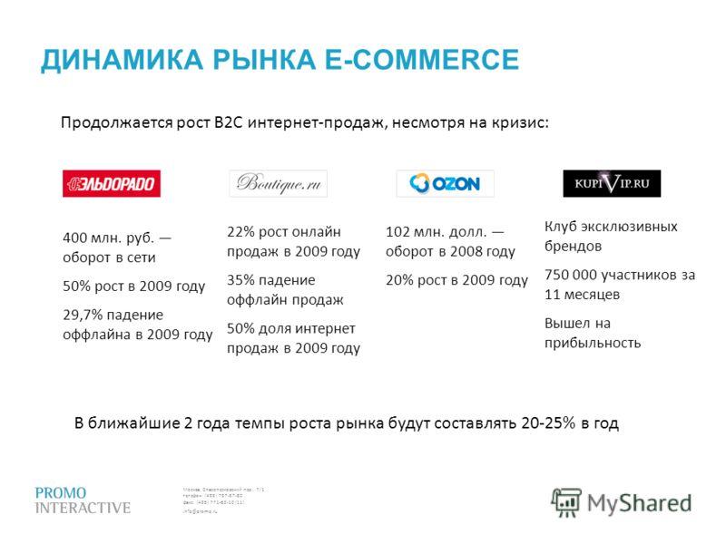 Москва, Спасопесковский пер., 7/1 телефон: (495) 797-57-80 факс: (495) 771-60-10 (11) info@promo.ru ДИНАМИКА РЫНКА E-COMMERCE Продолжается рост B2C интернет-продаж, несмотря на кризис: В ближайшие 2 года темпы роста рынка будут составлять 20-25% в го