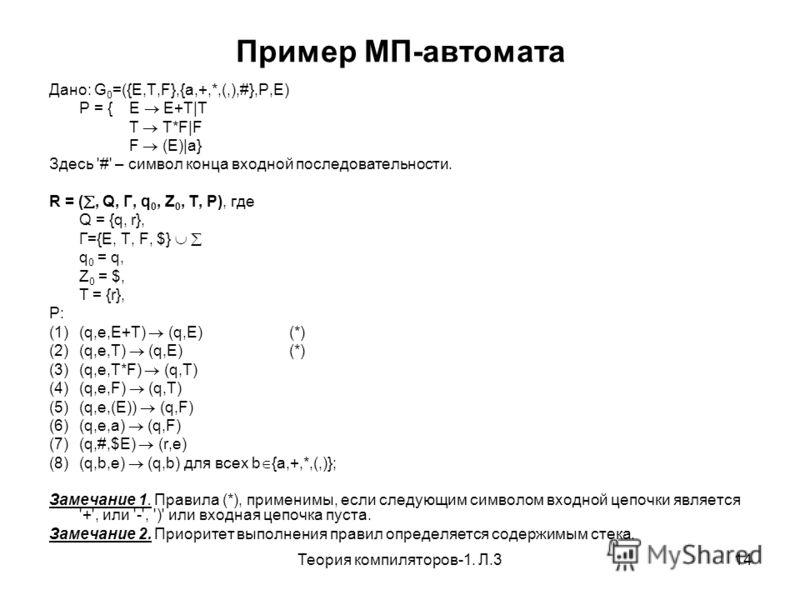 Теория компиляторов-1. Л.314 Пример МП-автомата Дано: G 0 =({E,T,F},{a,+,*,(,),#},P,E) P = {E E+T|T T T*F|F F (E)|a} Здесь '#' – символ конца входной последовательности. R = (, Q, Г, q 0, Z 0, T, P), где Q = {q, r}, Г={E, T, F, $} q 0 = q, Z 0 = $, T