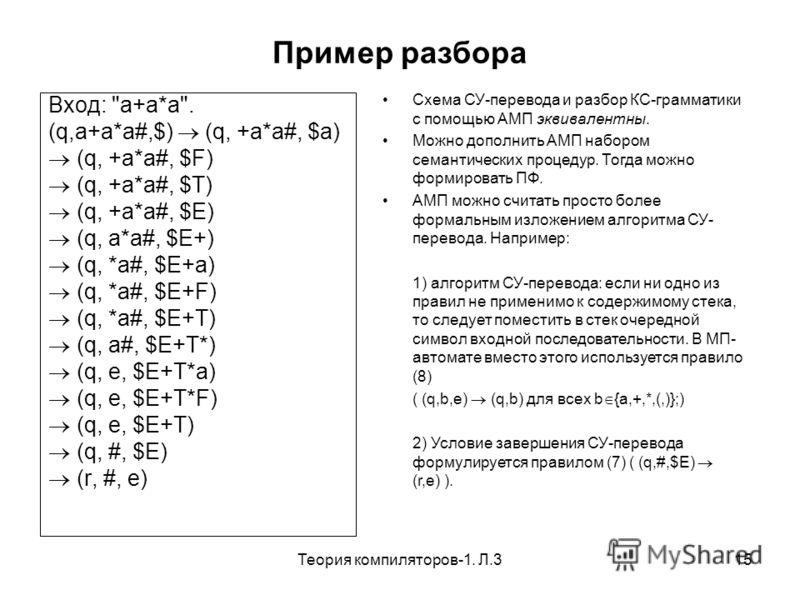 Теория компиляторов-1. Л.315 Пример разбора Вход: