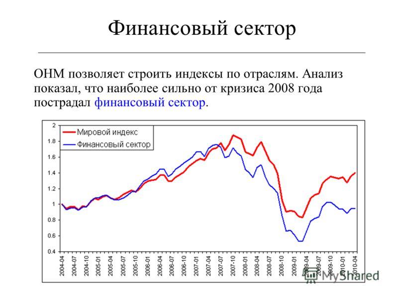 46 Финансовый сектор ___________________________________________________________ ОНМ позволяет строить индексы по отраслям. Анализ показал, что наиболее сильно от кризиса 2008 года пострадал финансовый сектор.