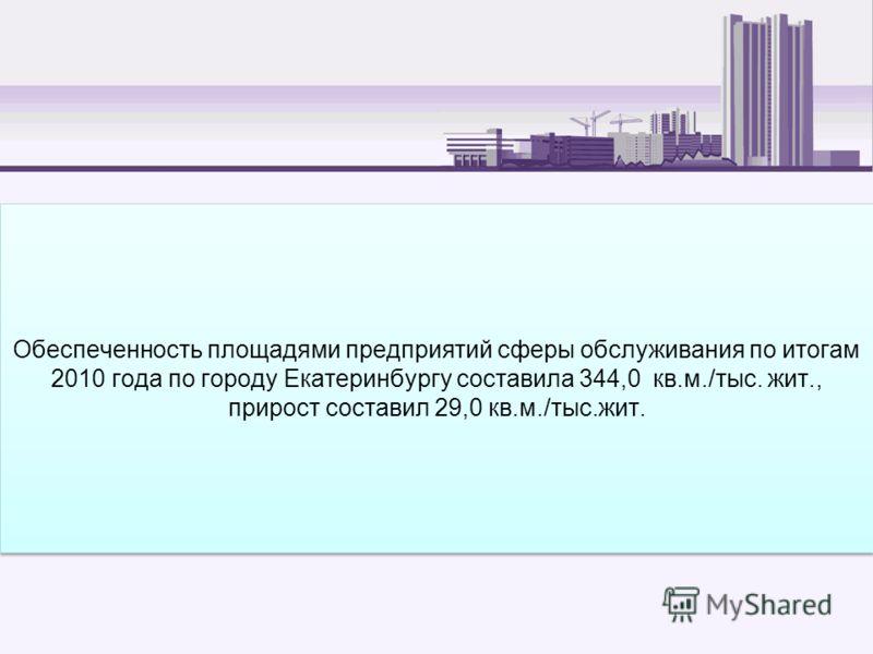 Обеспеченность площадями предприятий сферы обслуживания по итогам 2010 года по городу Екатеринбургу составила 344,0 кв.м./тыс. жит., прирост составил 29,0 кв.м./тыс.жит.