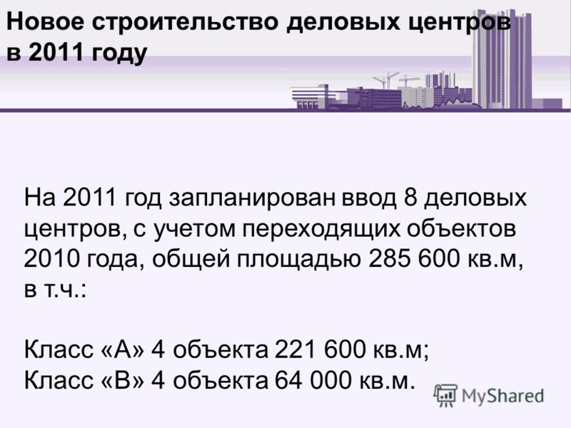 Новое строительство деловых центров в 2011 году На 2011 год запланирован ввод 8 деловых центров, с учетом переходящих объектов 2010 года, общей площадью 285 600 кв.м, в т.ч.: Класс «А» 4 объекта 221 600 кв.м; Класс «В» 4 объекта 64 000 кв.м.