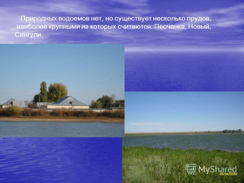 Природных водоемов нет, но существует несколько прудов, наиболее крупными из которых считаются: Песчанка, Новый, Сингули.