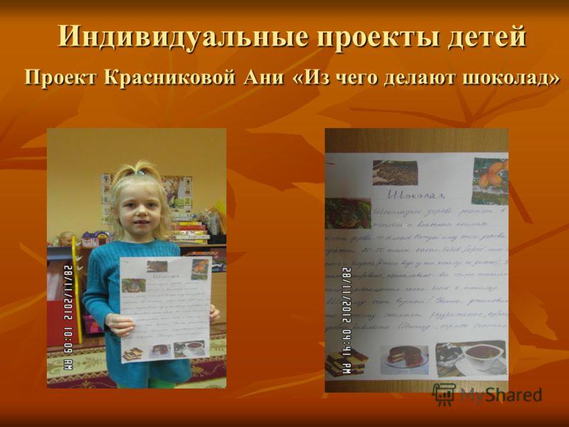 Индивидуальные проекты детей Проект Красниковой Ани «Из чего делают шоколад»