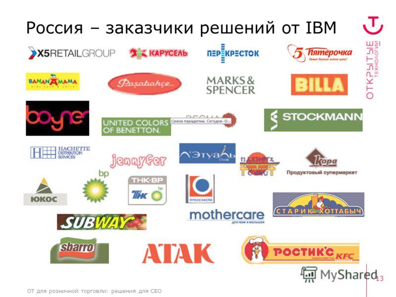 13 ОТ для розничной торговли: решения для CEO Россия – заказчики решений от IBM