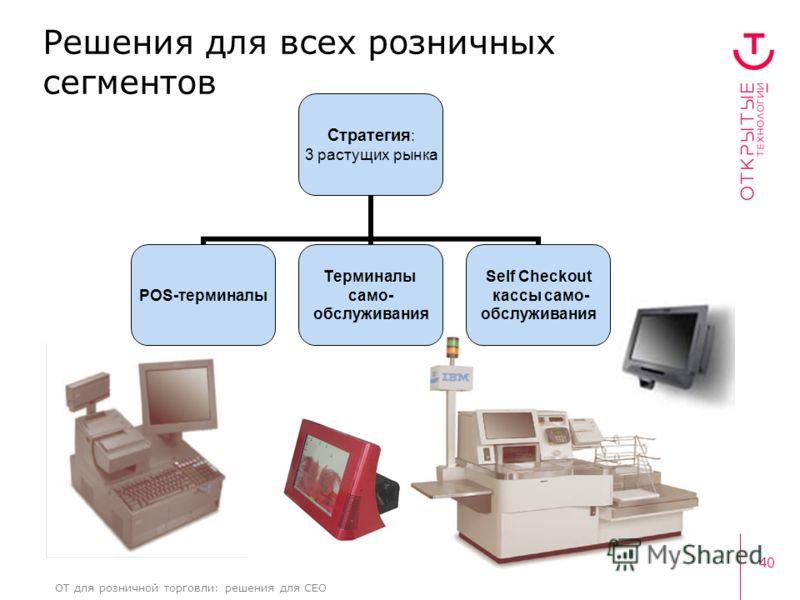 40 ОТ для розничной торговли: решения для CEO Стратегия: 3 растущих рынка POS- терминалы Терминалы само- обслуживания Self Checkout кассы само- обслуживания Решения для всех розничных сегментов