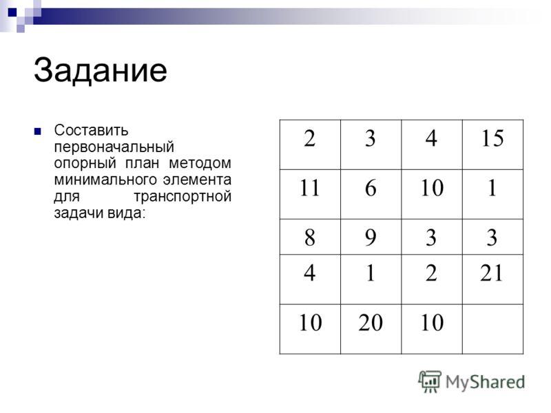 Задание Составить первоначальный опорный план методом минимального элемента для транспортной задачи вида: 23415 116101 8933 41221 102010