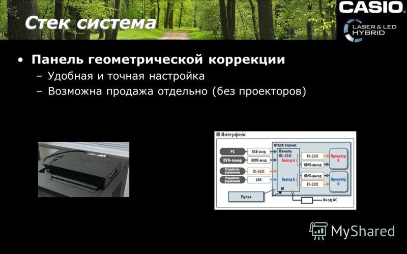 Стек система Панель геометрической коррекции –Удобная и точная настройка –Возможна продажа отдельно (без проекторов)