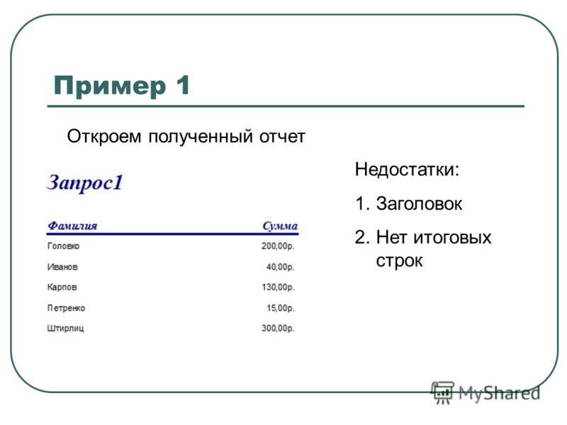 Пример 1 Откроем полученный отчет Недостатки: 1.Заголовок 2.Нет итоговых строк