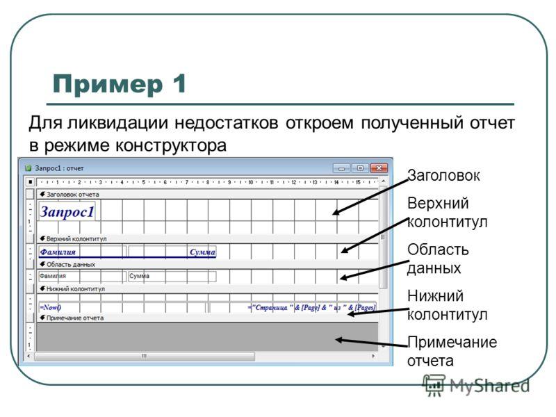 Пример 1 Для ликвидации недостатков откроем полученный отчет в режиме конструктора Заголовок Верхний колонтитул Область данных Нижний колонтитул Примечание отчета