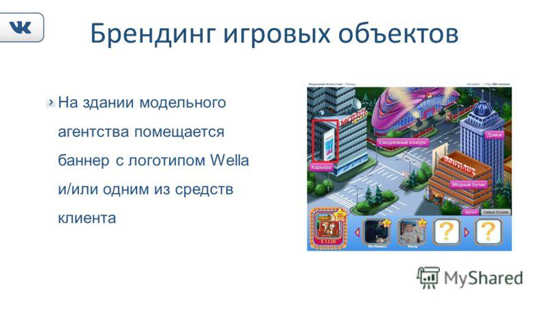 Брендинг игровых объектов На здании модельного агентства помещается баннер с логотипом Wella и/или одним из средств клиента