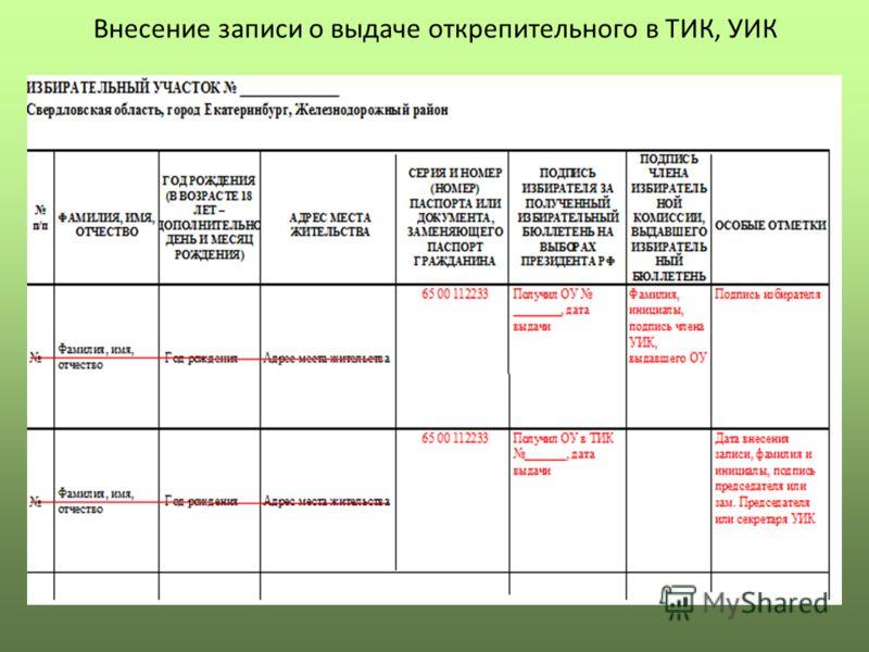 Внесение записи о выдаче открепительного в ТИК, УИК