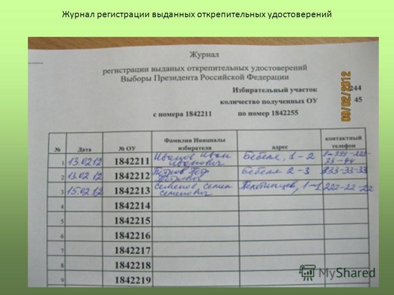 Журнал регистрации выданных открепительных удостоверений