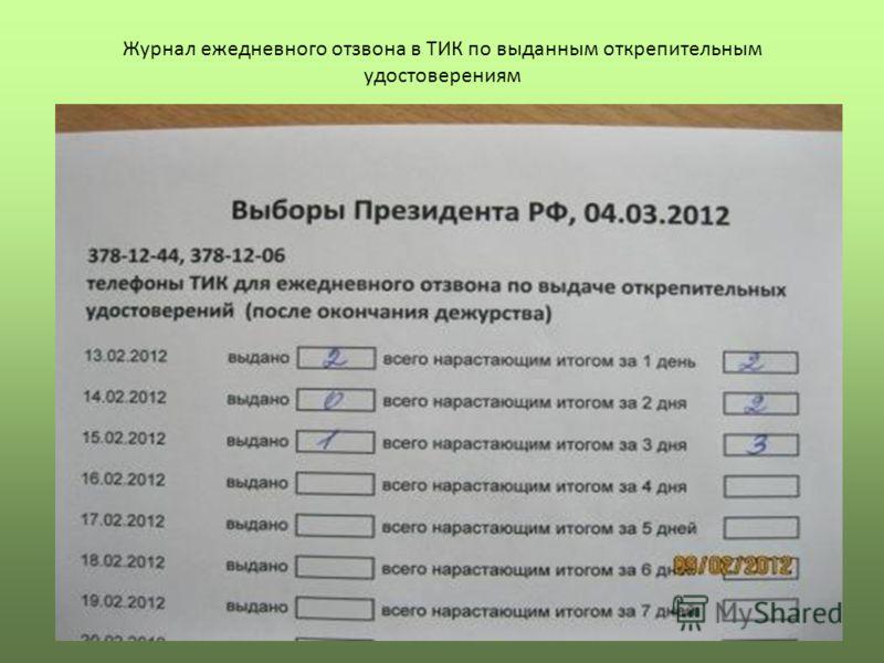 Журнал ежедневного отзвона в ТИК по выданным открепительным удостоверениям
