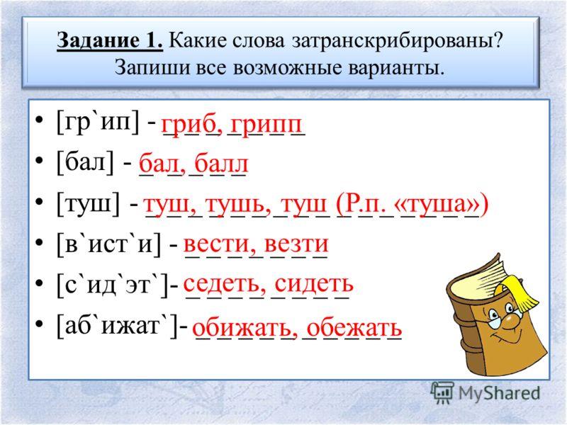 Задание 1. Какие слова затранскрибированы? Запиши все возможные варианты. [гр`ип] - _ _ _ _ _ _ _ [бал] - _ _ _ _ _ [туш] - _ _ _ _ _ _ _ _ _ _ _ _ _ _ _ _ [в`ист`и] - _ _ _ _ _ _ _ [с`ид`эт`]- _ _ _ _ _ _ _ _ [аб`ижат`]- _ _ _ _ _ _ _ _ _ _ гриб, гр