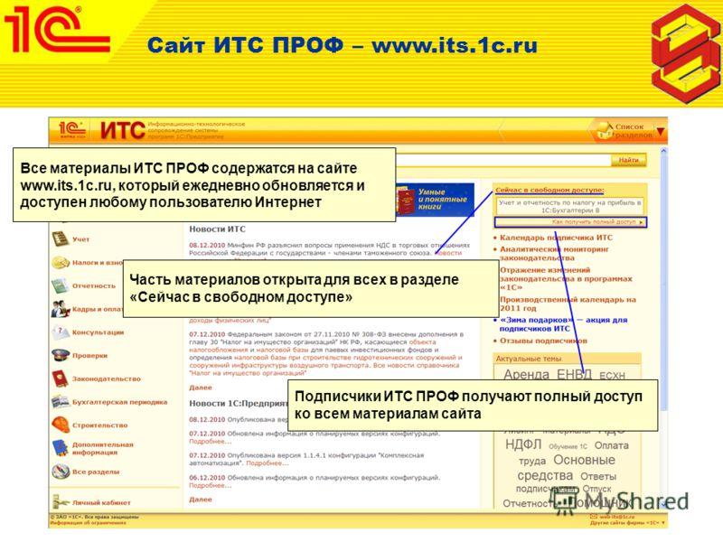 Сайт ИТС ПРОФ – www.its.1c.ru Все материалы ИТС ПРОФ содержатся на сайте www.its.1c.ru, который ежедневно обновляется и доступен любому пользователю Интернет Часть материалов открыта для всех в разделе «Сейчас в свободном доступе» Подписчики ИТС ПРОФ