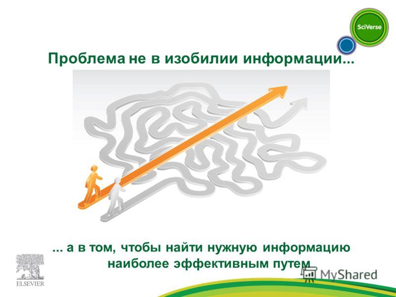 Проблема не в изобилии информации...... а в том, чтобы найти нужную информацию наиболее эффективным путем