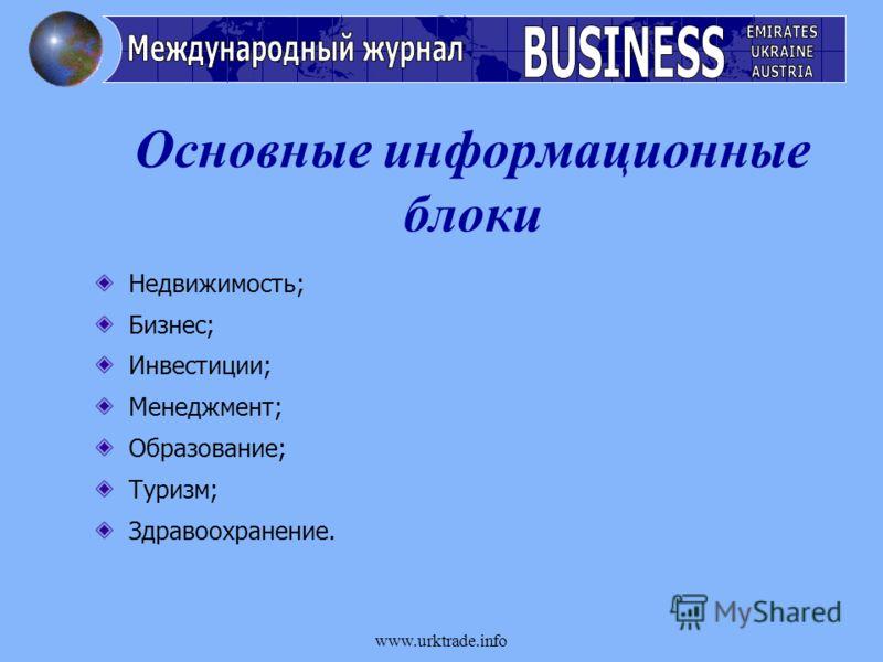 www.urktrade.info Недвижимость; Бизнес; Инвестиции; Менеджмент; Образование; Туризм; Здравоохранение. Основные информационные блоки