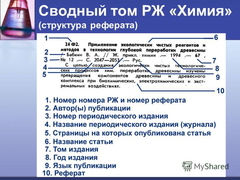 Сводный том РЖ «Химия» (структура реферата)