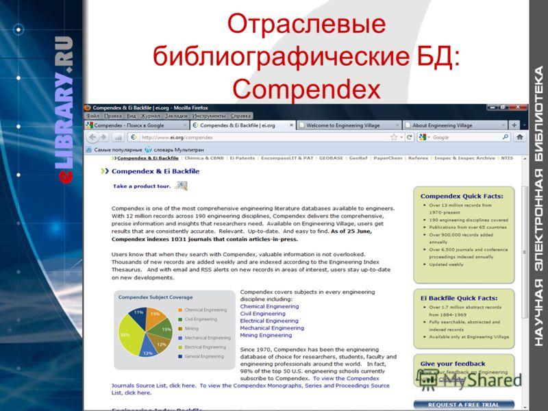 Отраслевые библиографические БД: Compendex
