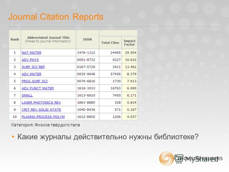 Journal Citation Reports Какие журналы действительно нужны библиотеке? Категория: Физика твёрдого тела