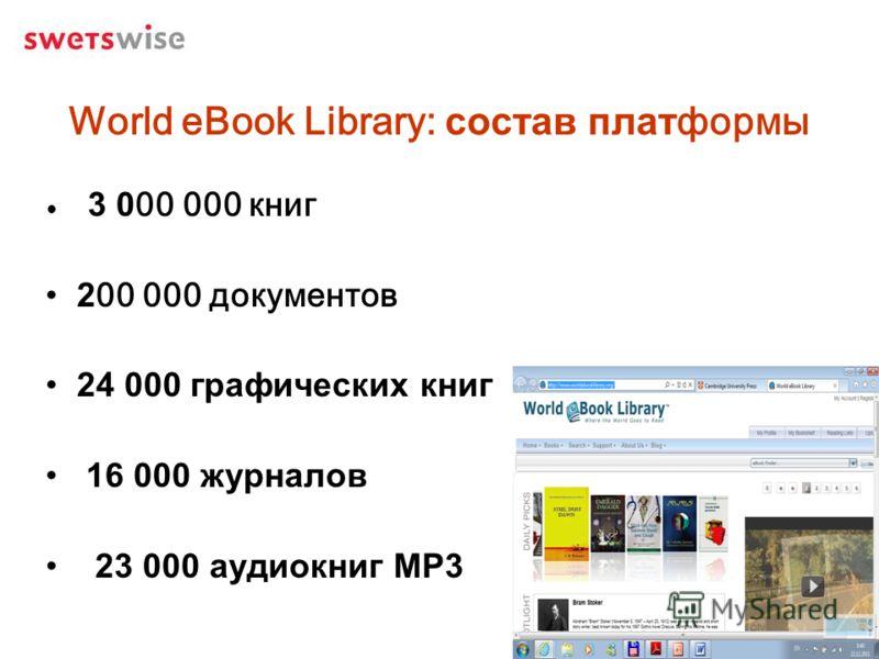World eBook Library: состав платформы 3 000 000 книг 200 000 документов 24 000 графических книг 16 000 журналов 23 000 аудиокниг MP3