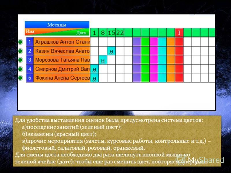 Для удобства выставления оценок была предусмотрена система цветов: а)посещение занятий (зеленый цвет); б)экзамены (красный цвет); в)прочие мероприятия (зачеты, курсовые работы, контрольные и т.д.) – фиолетовый, салатовый, розовый, оранжевый. Для смен