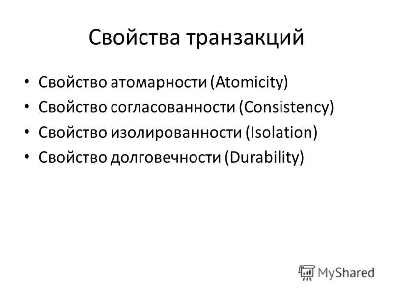 Свойства транзакций Свойство атомарности (Atomicity) Свойство согласованности (Consistency) Свойство изолированности (Isolation) Свойство долговечности (Durability)