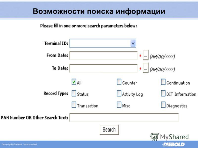 Поиск по PAN! Поиск по дате Поиск по номеру банкомата Возможности поиска информации 123456789101112 ATM 123 10/17/2005