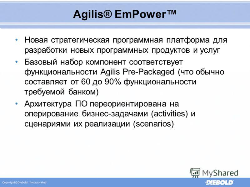 Agilis® EmPower Новая стратегическая программная платформа для разработки новых программных продуктов и услуг Базовый набор компонент соответствует функциональности Agilis Pre-Packaged (что обычно составляет от 60 до 90% функциональности требуемой ба