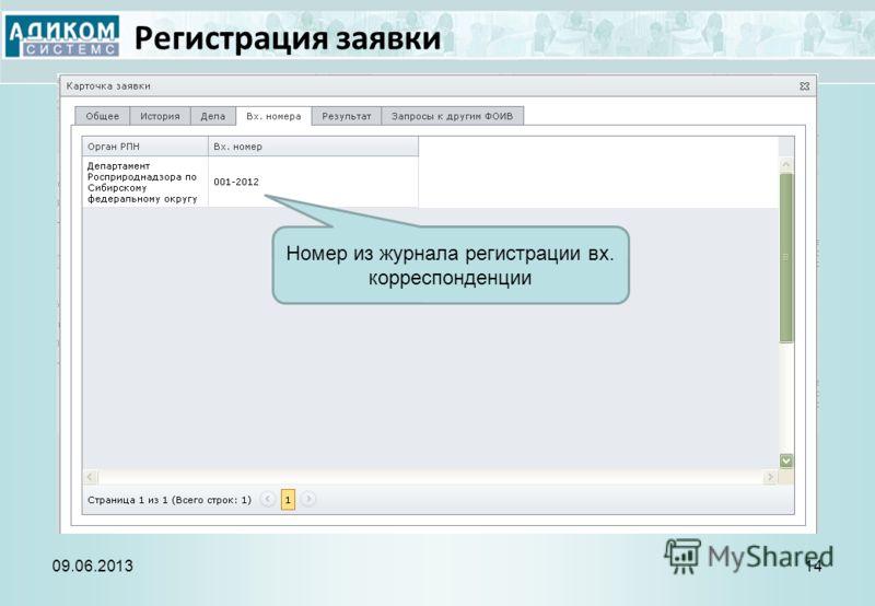 Регистрация заявки 09.06.201314 Номер из журнала регистрации вх. корреспонденции
