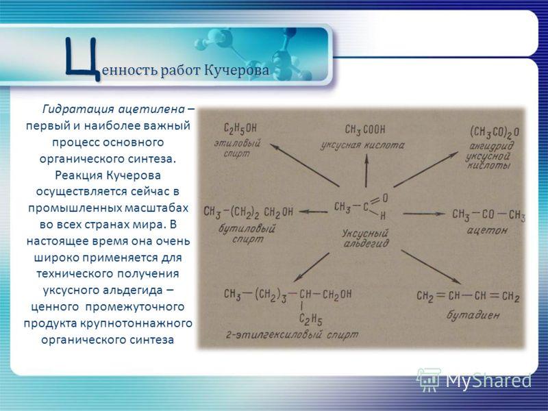 Ц енность работ Кучерова Гидратация ацетилена – первый и наиболее важный процесс основного органического синтеза. Реакция Кучерова осуществляется сейчас в промышленных масштабах во всех странах мира. В настоящее время она очень широко применяется для