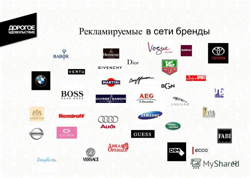 12 Рекламируемые в сети бренды