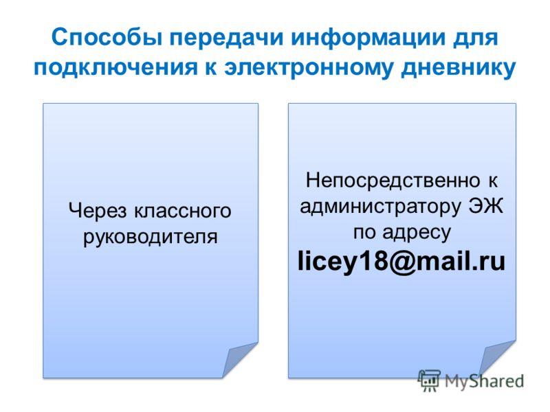 Способы передачи информации для подключения к электронному дневнику Через классного руководителя Непосредственно к администратору ЭЖ по адресу licey18@mail.ru Непосредственно к администратору ЭЖ по адресу licey18@mail.ru