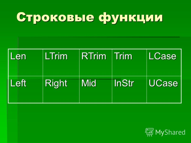 Строковые функции LenLTrimRTrimTrimLCase LeftRightMidInStrUCase