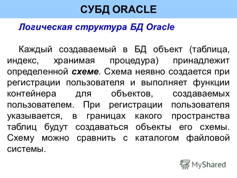 СУБД ORACLE Логическая структура БД Oracle Каждый создаваемый в БД объект (таблица, индекс, хранимая процедура) принадлежит определенной схеме. Схема неявно создается при регистрации пользователя и выполняет функции контейнера для объектов, создаваем