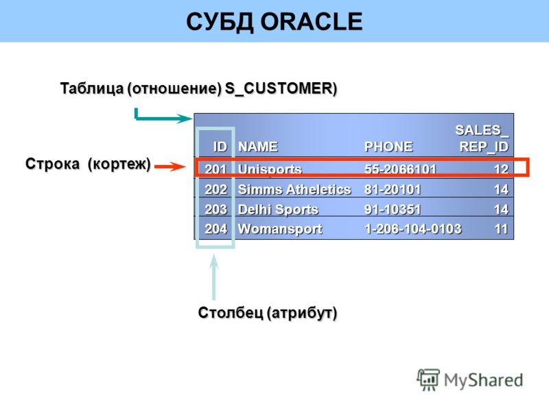 СУБД ORACLESALES_ IDNAMEPHONEREP_ID 201Unisports55-206610112 202Simms Atheletics81-2010114 203Delhi Sports91-1035114 204Womansport1-206-104-010311 Строка (кортеж) Столбец (атрибут) Таблица (отношение) S_CUSTOMER)